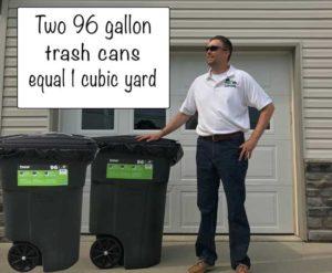 two 96 gallon trash cans